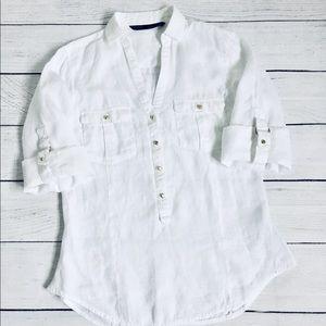 Zara Basic White Linen button down Shirt S